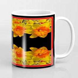 Ebony Black Night Golden Dafffodils Red Accents Coffee Mug