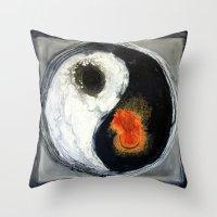 yin yang Throw Pillows featuring Yin Yang by Liz Moran
