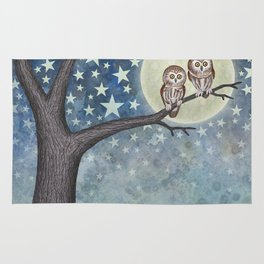 northern saw whet owls under the stars Rug