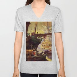 """Pirate Ships in Harbor""by Frank Earle Schoonover Unisex V-Neck"