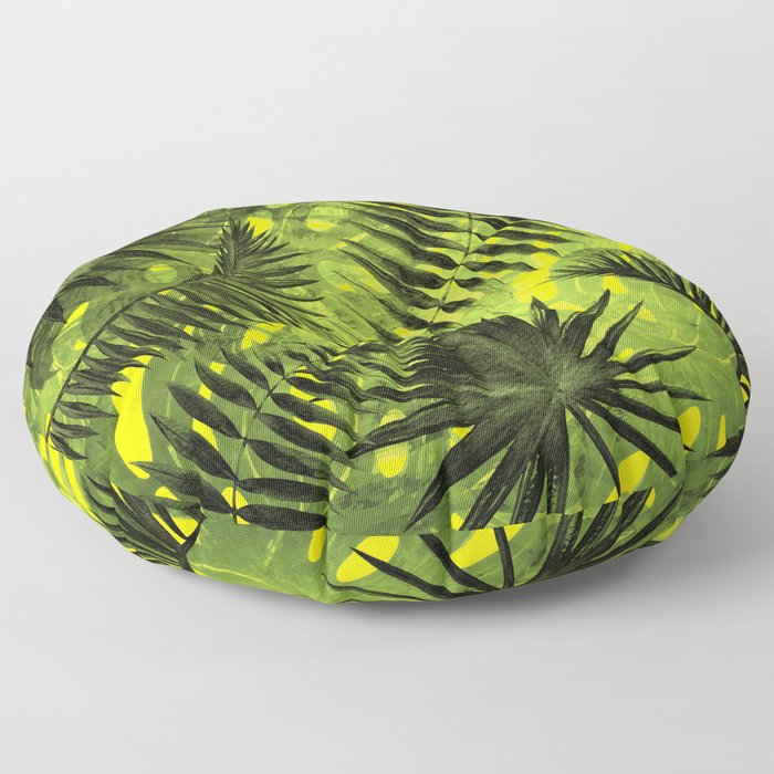 Tropical Leaves Aloha Jungle Garden Floor Pillow
