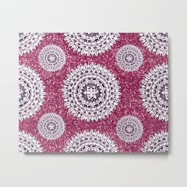 Pink Glitter and Pearl White Patterned Mandala Textile Metal Print