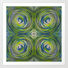 Blue Green Bull's Eye Art Print