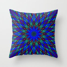Stained glass flower mandala Throw Pillow