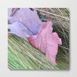 Fine Art Purple-Lilac & Pink Leaves On Grass Metal Print