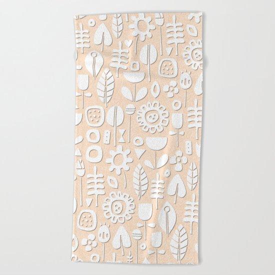 paper cut flowers white peach Beach Towel