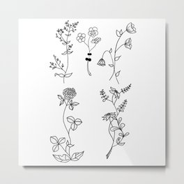 Wildflowers Illustration Design Metal Print