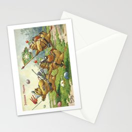 Easter chicks at War charging across field amid toy cannon fired brightly colored Easter eggs Stationery Cards