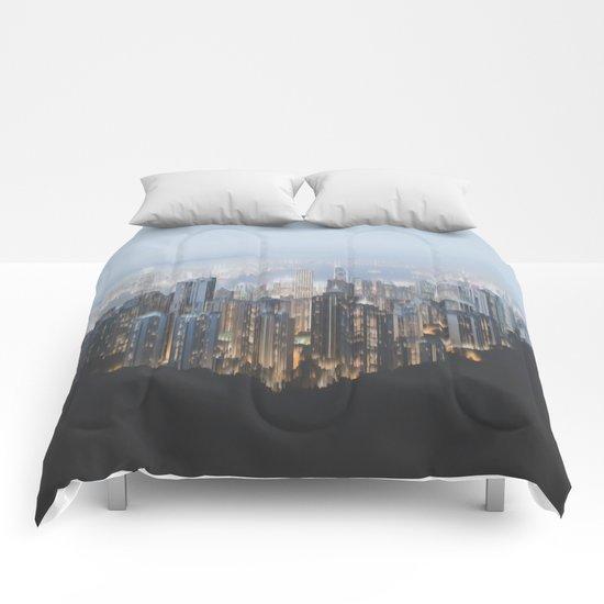 Hong Kong (Pixel Sorted) Comforters