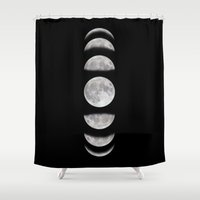 moon phases Shower Curtains featuring Phases by My Studio