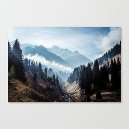 VALLEY - MOUNTAINS - TREES - RIVER - PHOTOGRAPHY - LANDSCAPE Canvas Print
