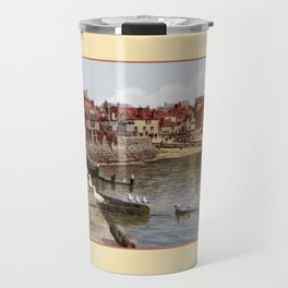 Aquarelle St Ives Cornwall Seagulls in the harbour Travel Mug