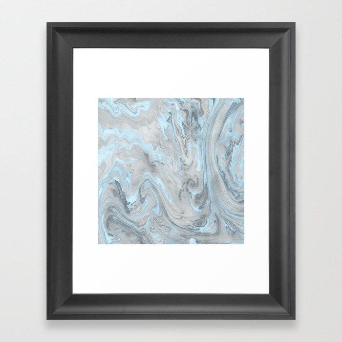 Ice Blue and Gray Marble Gerahmter Kunstdruck