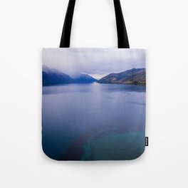 Lake Hawea lake wakatipo blue crystal clear panorama blue Tote Bag