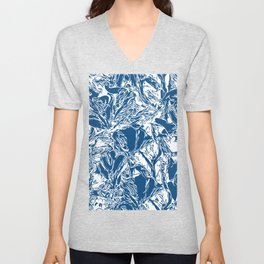 Classic Blue Floral Abstract Pattern Unisex V-Neck