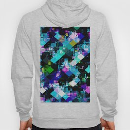 psychedelic geometric square pixel pattern abstract in blue yellow pink Hoody