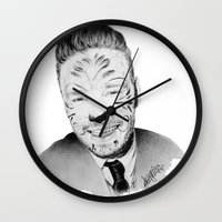 liam payne Wall Clocks featuring Liam Payne with painted face by Drawpassionn