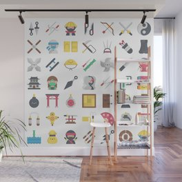 CUTE NINJA PATTERN Wall Mural