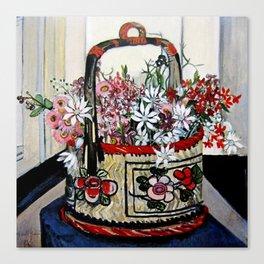 """Basket of Flannel Flowers"" by Margaret Preston Canvas Print"