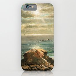 Sunlight through the Clouds over a Rocky Coast by Edmond Darch Lewis iPhone Case