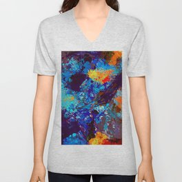 Abstract Expressionist Splashes Blue Drip Painting Texture Unisex V-Neck