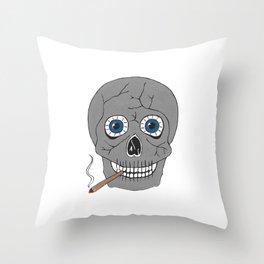 Grey Skull Throw Pillow