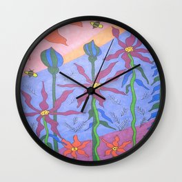 Blue Bohemian Garden Art Wall Clock