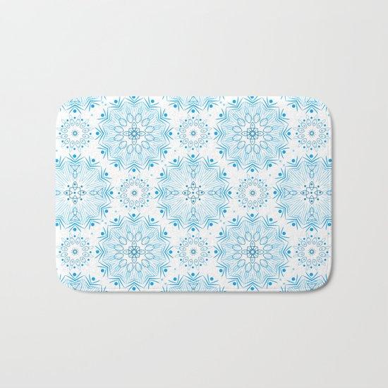 Winter . White and blue Bath Mat
