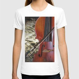 Cello with Bow a Stringed Instrument with Classical Sheet Music T-shirt