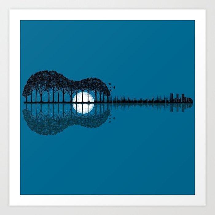 Trees sea and the moon turned guitar Art Print