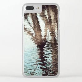 Blue Brown Abstract Water Reflections Photography, Water Ripples Tree Lake Reflection Photo Clear iPhone Case