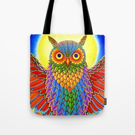 Colorful Rainbow Owl Tote Bag