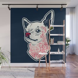 Funny Hipster Style Good Boy Dog Lover Tattoo Covered Chihuahua Wall Mural