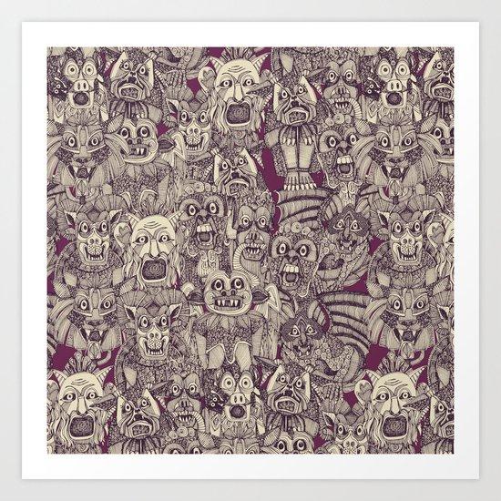 gargoyles purple Art Print