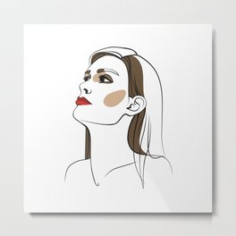 Woman with long hair and red lipstick. Abstract face. Fashion illustration Metal Print