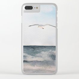 Seagull flying over the Ocean Watercolor Art Clear iPhone Case