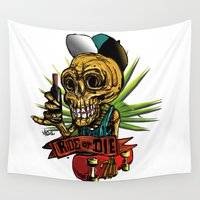 skate Wall Tapestries featuring skull skate by viewz