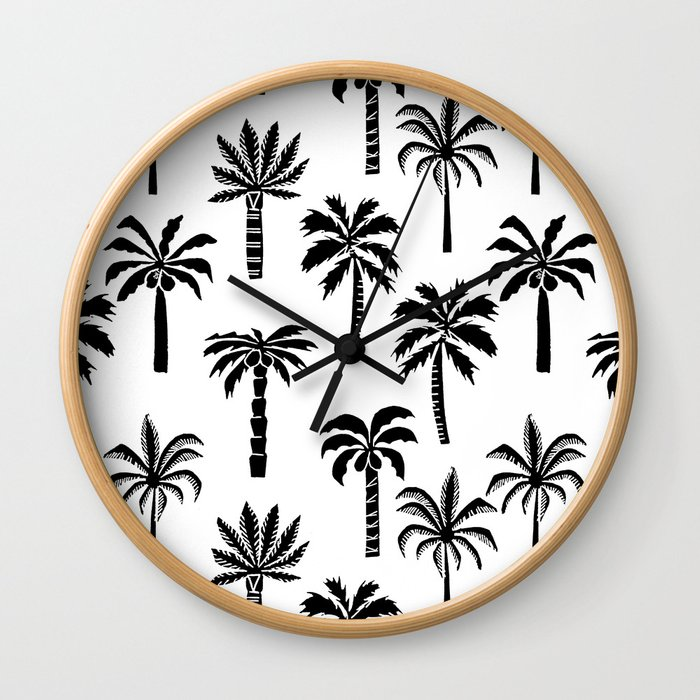 Palm Trees linocut black and white tropical summer art minimalist decor Wall Clock