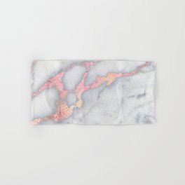 Rosegold Pink on Gray Marble Metallic Foil Style Hand & Bath Towel
