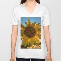 sunflower V-neck T-shirts featuring Sunflower by Svetlana Korneliuk