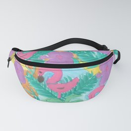 Tropical Flamingo Jungle Fanny Pack