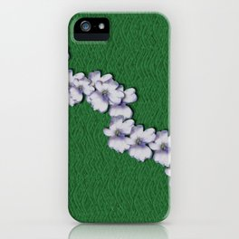 Cherry-blossoms Branch Decorative On A Field Of Fern iPhone Case