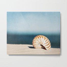 Seashell on Beach Photography, Nautilus Shell Coastal Photograph, Blue Orange Beach Landscape Metal Print