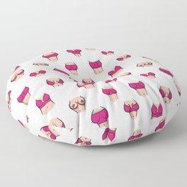 Boobs in pink bra Floor Pillow