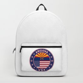 Arizona, Arizona t-shirt, Arizona sticker, circle, Arizona flag, white bg Backpack