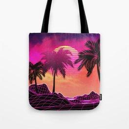 Pink vaporwave landscape with rocks and palms Tote Bag