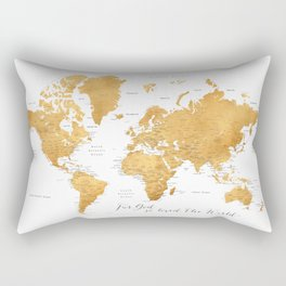 For God so loved the world, world map in gold Rectangular Pillow