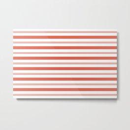 Pantone Living Coral Stripes Thick and Thin Horizontal Lines Metal Print