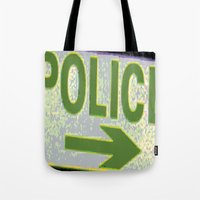 police Tote Bags featuring police by XiXi