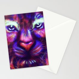 Fantasy lion face made of stars and colorful clouds Stationery Cards